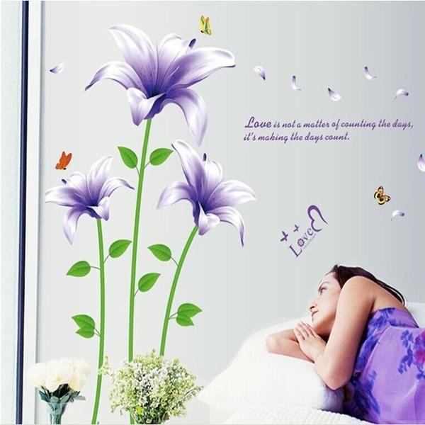 PVC Purple Lilies Flowers Bedroom Wall Sticker