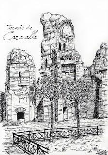 Bagni termali di Caracalla, Roma. Inchiostro nero. From elblocdedibujos.com