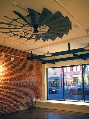Windmill Ceiling Fan - great idea for farm/ranch office. I love this space!