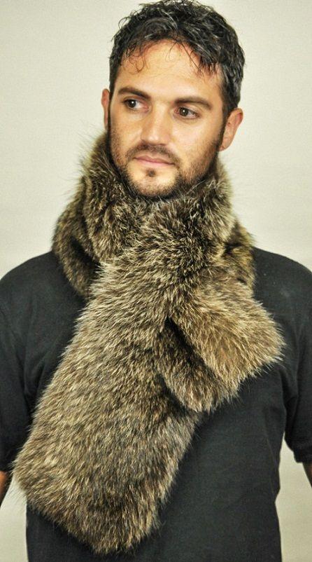 Sciarpa in vera pelliccia di marmotta per uomo  www.amifur.it