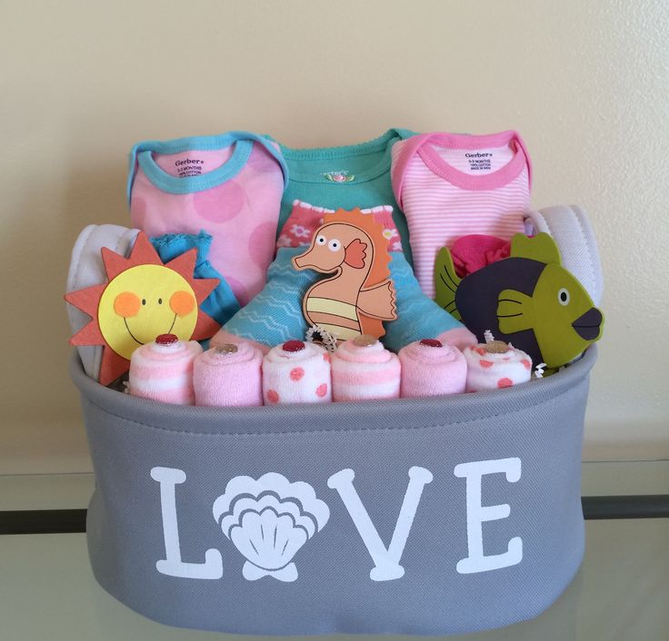 Pink Whale of A Tail Baby Girl Gift Basket