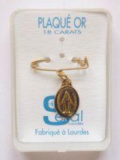 Gold Miraculous Medal Lapel Pin.