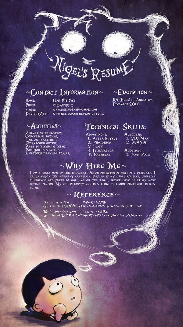 SUPER CREATIVE Resume Like a childs