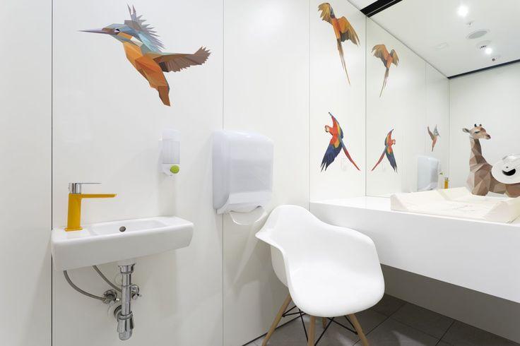 Design of the interior for public toilets and corridors in SC Złote Tarasy, stage 02. #geometric #minimal #zlotetarasy #architecture #design #interiors #art #graphic