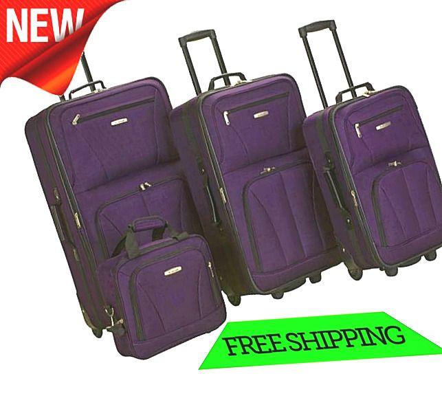 Rolling Upright Bag 4 Piece Set Travel Heavy Duty Purple Duffel Wheeled suitcase #Rockland #DuffleGymBag