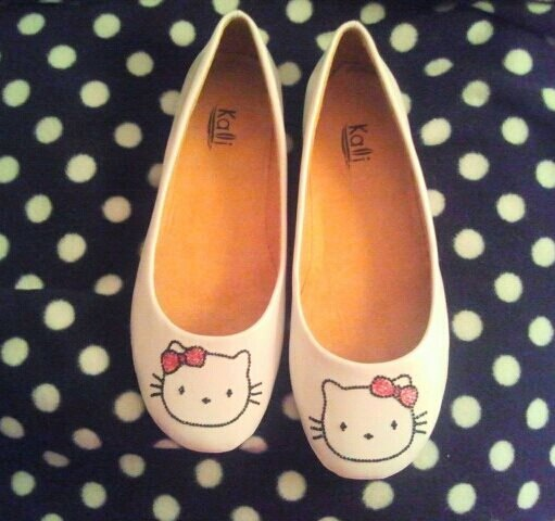 Hello Kitty flats by AmyClaire214 on Etsy  http://www.etsy.com/listing/116288543/hello-kitty-flats?ref=v1_other_1