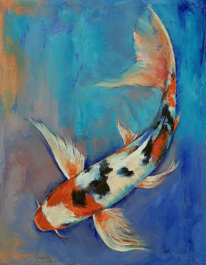 Sanke Butterfly Koi Painting by Michael Creese
