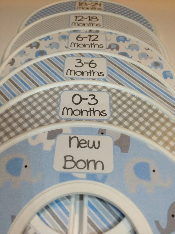 6 Custom Baby Closet Dividers Organizers Blue and Grey Elephants Baby Boy Nursery Shower Gift - Clothes Dividers by leila