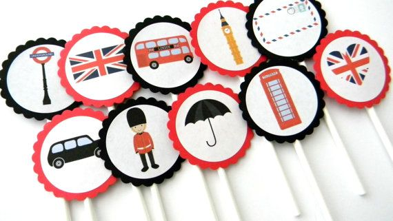 12 London Cupcake Toppers by thepartypenguin on Etsy, $9.80