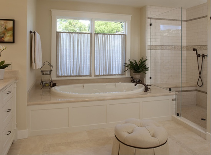 Crema marfil marble for the tub surround shower seat and - Best paint color for crema marfil bathroom ...