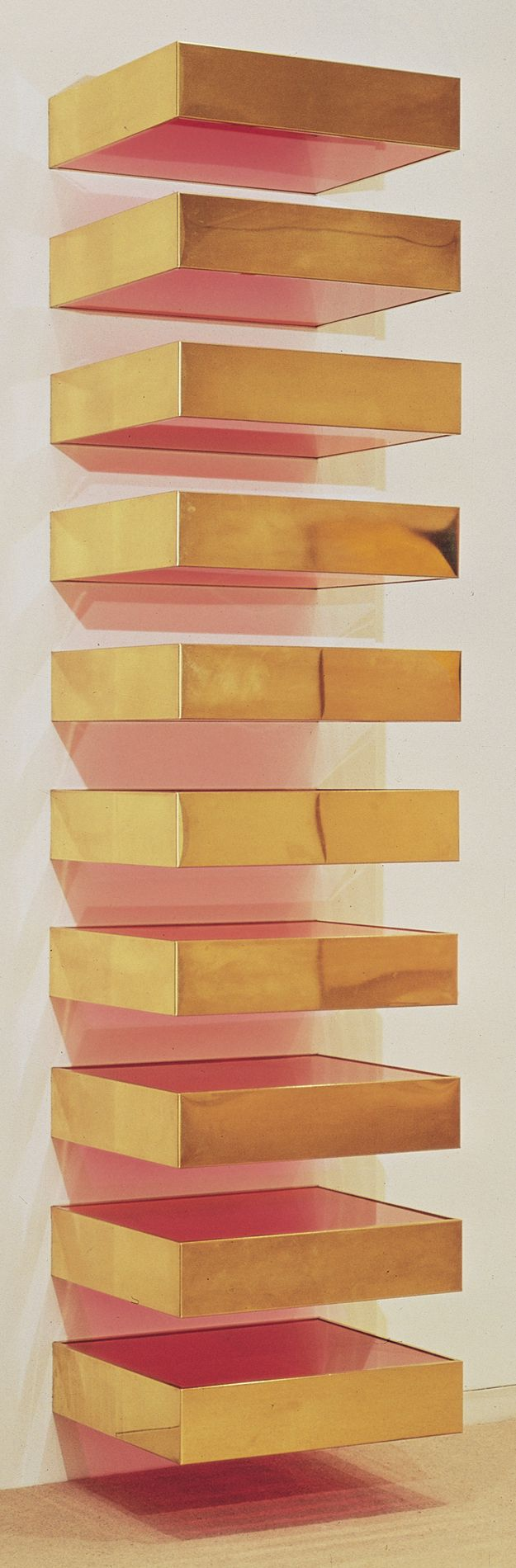 This is a sculpture/installation but I like the idea of this as shelves. (donald judd, untitled, 1968)