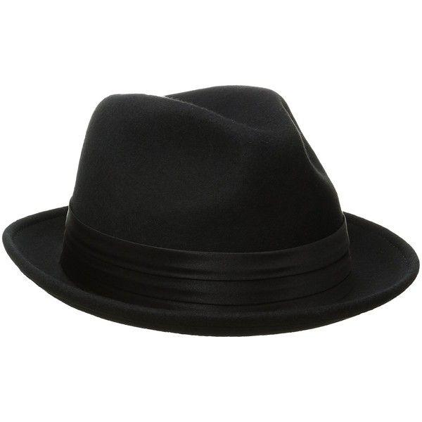 Stacy Adams Men's Crushable Wool Felt Snap Brim Fedora Hat ($32) ❤ liked on Polyvore featuring men's fashion, men's accessories, men's hats, mens felt fedora, mens wool felt hats, mens felt hat, mens wide brim fedora and mens fedora hats