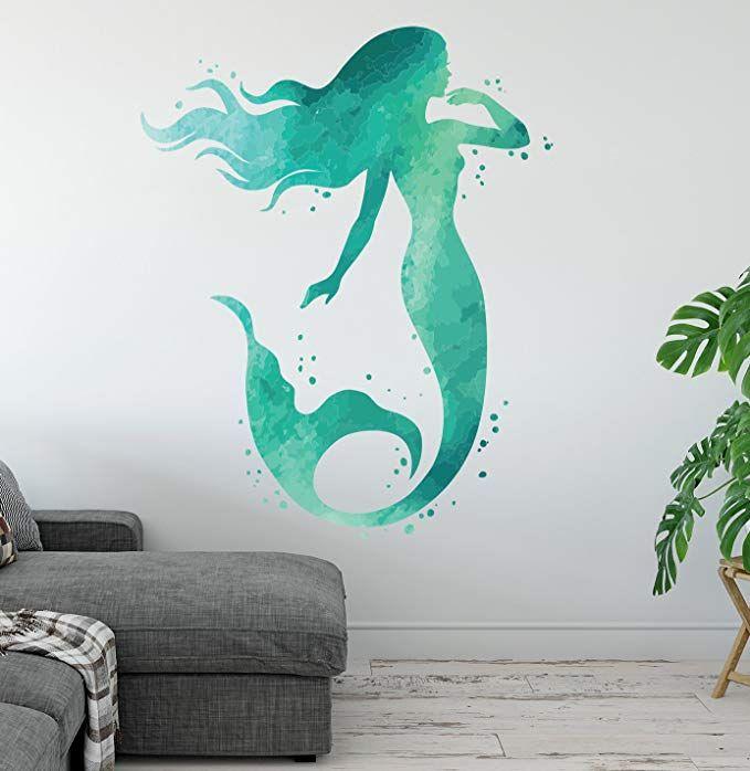 Amazon Com Mermaid Wall Decal Ocean Mermaid Wall Art Aqua