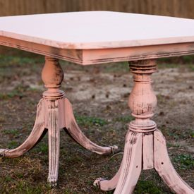 Shabby Chic Pink Distressed Table. Sweets Table. Vintage Wedding Lounge. Vintage Prop Rentals & Styling Houston Texas. via A Style Collective. #astylecollective www.astylecollective.com