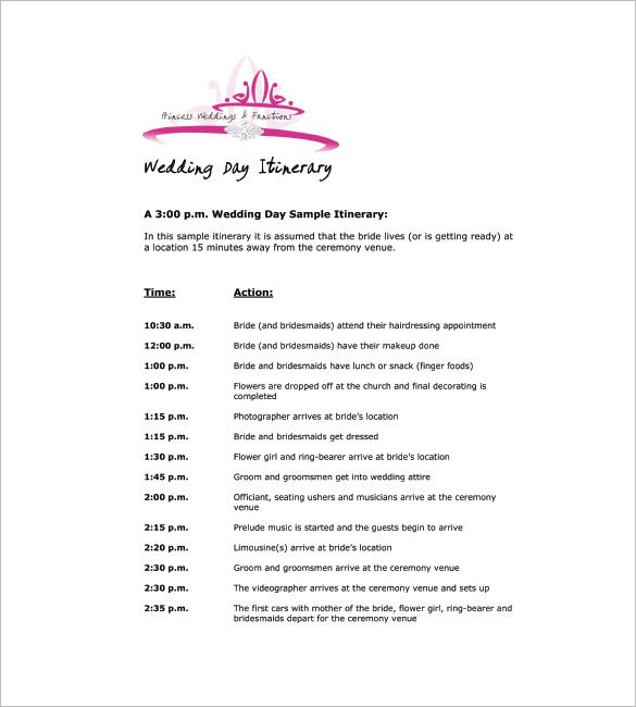 Free Sample Example Format Download Free Premium Templates Wedding Day Itinerary Wedding Itinerary Template Wedding Agenda