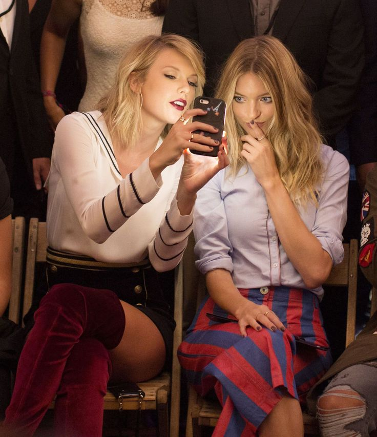 Taylor Swift and Martha Hunt at friend Gigi Hadid's collaboration with Tommy Hilfiger NYFW showing