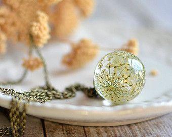 Presiona flor collar de botánica - naturaleza inspirado blanco de la Reina Ana Flor del cordón, regalo menores de 40, collar de terrario