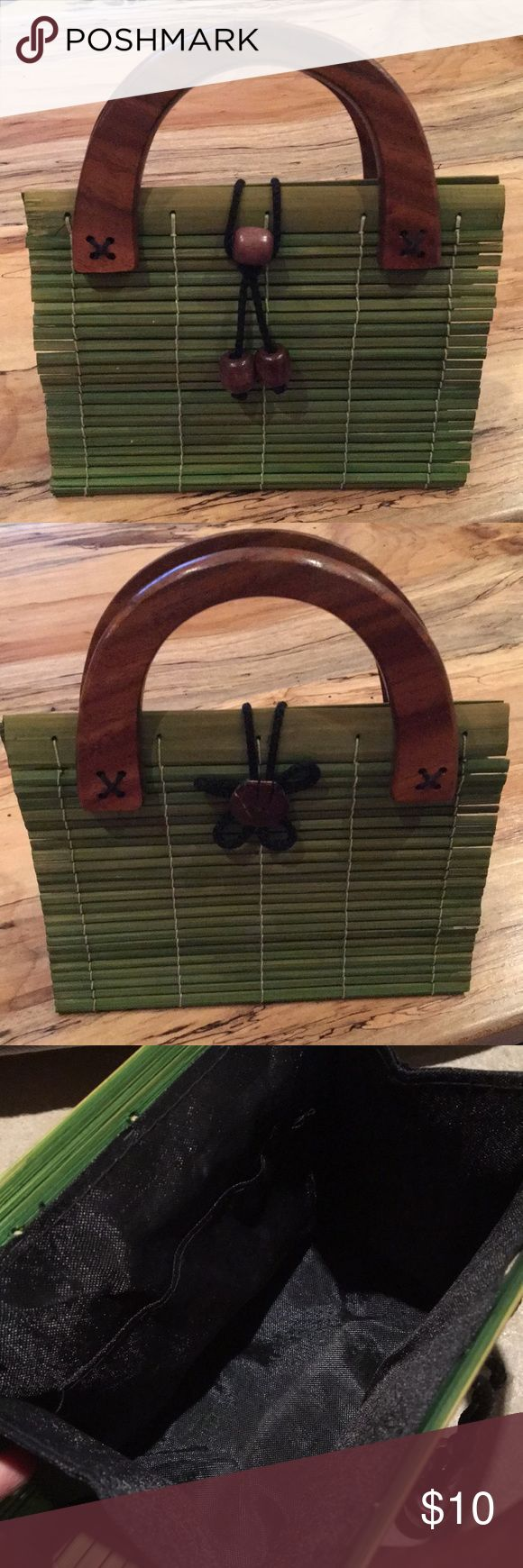 """Small Green Wooden Handbag Gently used adorable matchstick wood handbag with thick wooden handles. Purchased in Hawaii many years ago. Clasp is a rope that loops over a wooden button in front. Lined with black fabric, and one small pocket on inside. 8"""" wide, 6.5"""" tall. Bags"""