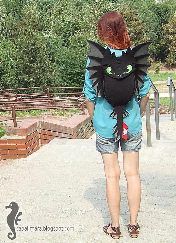 Backpack Toothless funny cute black dragon felt от CapallMara