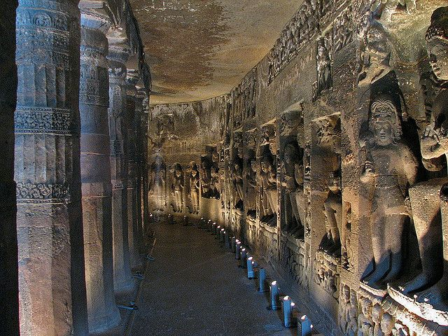 The Ajanta Caves, India  – Ancient Temples Carved From Solid Rock. Built from the 2nd century BCE to the 600 CE. The caves include paintings and sculptures considered to be masterpieces of Buddhist religious art.