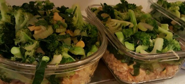 Fried rice with veggies! Saute w a little water and ...