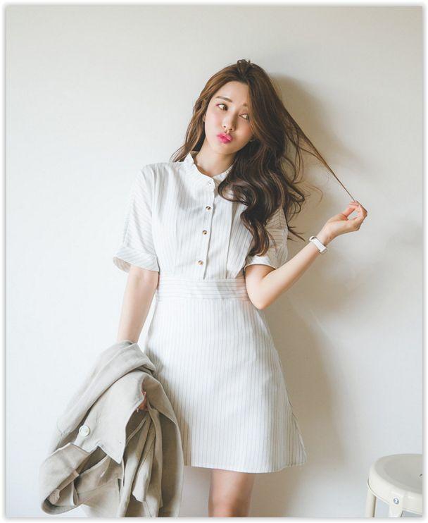 All Korean Fashion items up to 70% OFF! ERANZI - Half-Placket #Striped Dress #koreanfashion