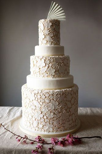 """Inspired by a vintage wedding dress lace overlay, this cake features delicate"