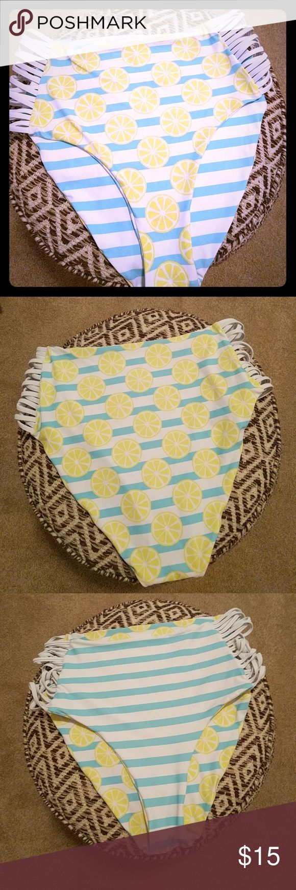Cupshe high waisted reversible bikini bottoms Women's XL Cupshe brand reversible high waisted bikini bottoms Lemon pattern on one side and blue/white stripes on the other The sides are strappy/open   Does not come with top  Bundle and save! Swim Bikinis