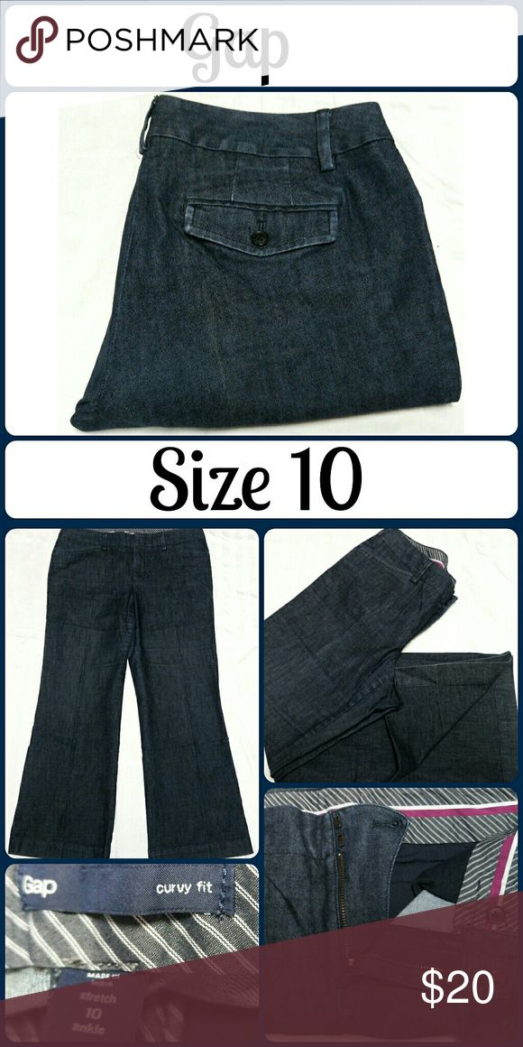 """Sz 10 GAP Denim Trousers, Stretch Ankle So chic and perfectly on trend! Excellent pre worn condition! 84% Cotton, 16% Elastrerell. Waist 34"""", Inseam 28"""", Rise 9? No rips, tears, or stains.  ... From a smoke-free, dog friendly home, No trades!! (J51) GAP Jeans Ankle & Cropped"""