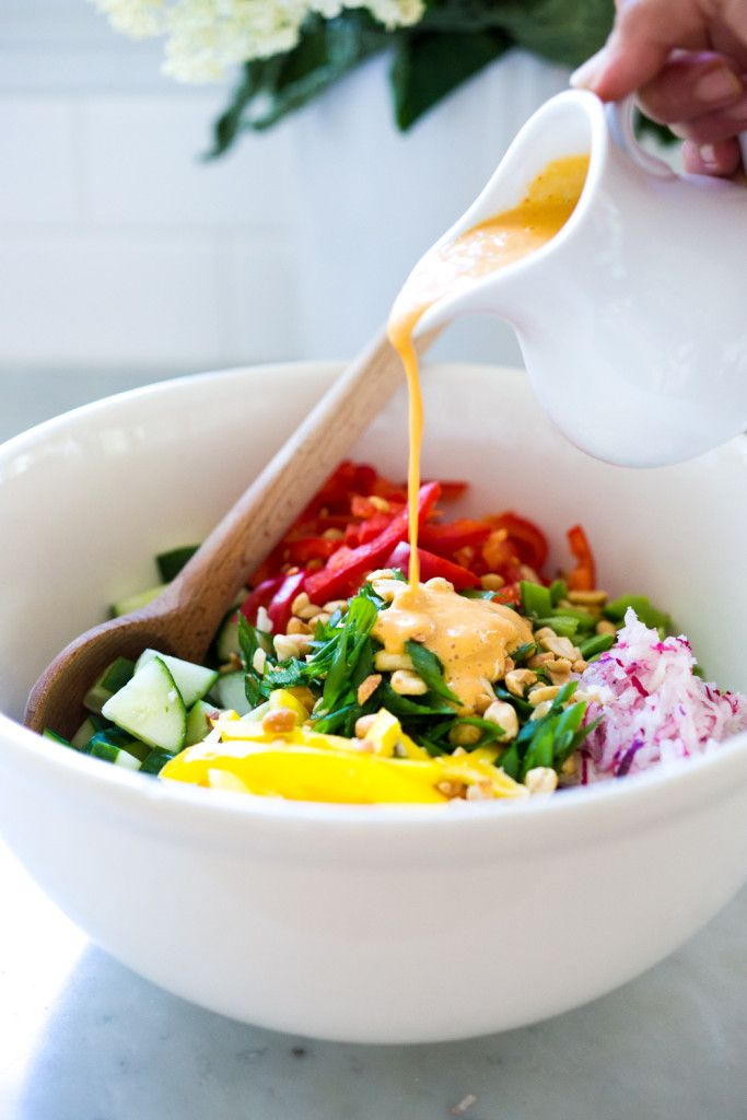 Thai Vegetable Crunch Salad with mint, thai basil and scallions and a ...