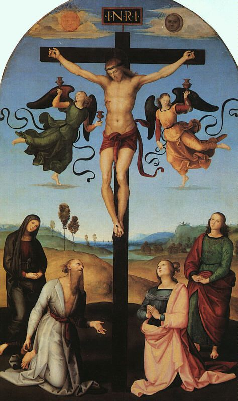 jesus hung up on the cross after he carried it all the way up the hill exhausted then put up till his death...