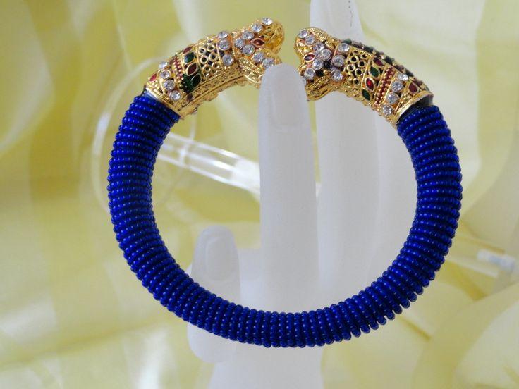 "Bracelet- Minakari & bead Indian Jewellery. Blue beads with minakari bracelet bangle. ""Jai Ho"" Ethnic Indian Bollywood bracelet. From Artikrti."