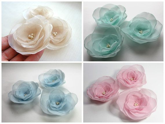 Fabric Flowers Handmade organza flower appliques by BridalLife