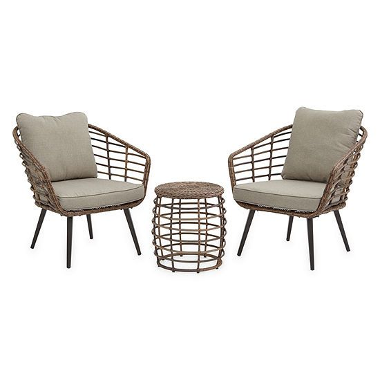 Outdoor Oasis Sanibel 3 Pc Wicker Chat Set Color Neutral Jcpenney Patio Furniture Sets Outdoor Living Furniture Outdoor Patio Chairs