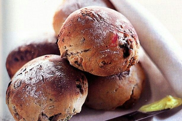 Mixed Fruit Bread Rolls recipe: http://www.taste.com.au/recipes/2858/mixed+fruit+bread+rolls?ref=collections,healthy-snack-recipes
