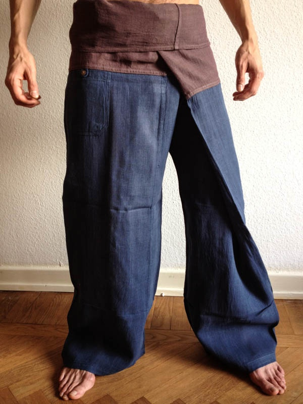 Blue Raw Cotton Thai Fisherman Pants - For more information about #Bindidesigns products, please visit: BindiDesigns.eu