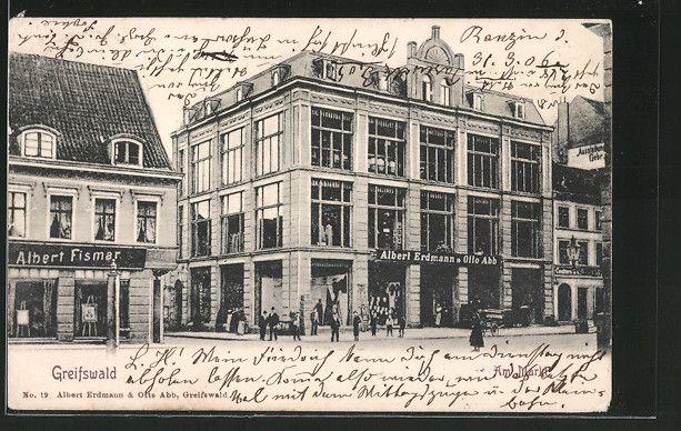alte AK Greifswald, Kaufhaus Erdmann & Abb, Markt 1906   eBay