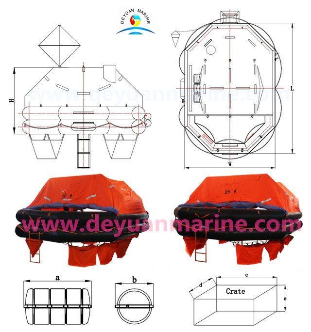 1.20 Man Life raft. 2.Capacity(Persons):20\25 3.Shape:Rectangular octagon. 4:Cylinder(L):6L×2\7.5L×2.