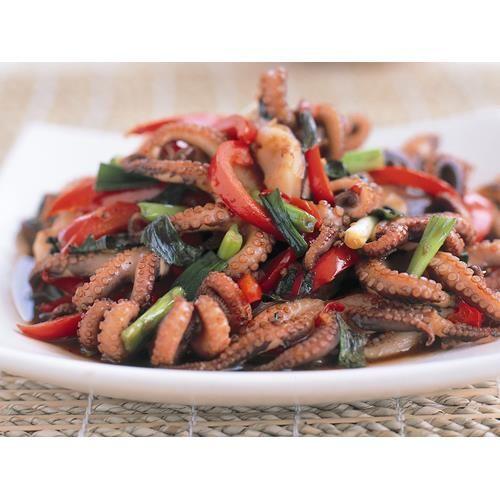 Stir-fried octopus with thai basil recipe. #StirFry #OctopusRecipe #Dinner #Asian