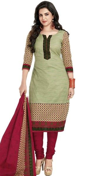 Festive Green Cotton Straight Suit With Dupatta.