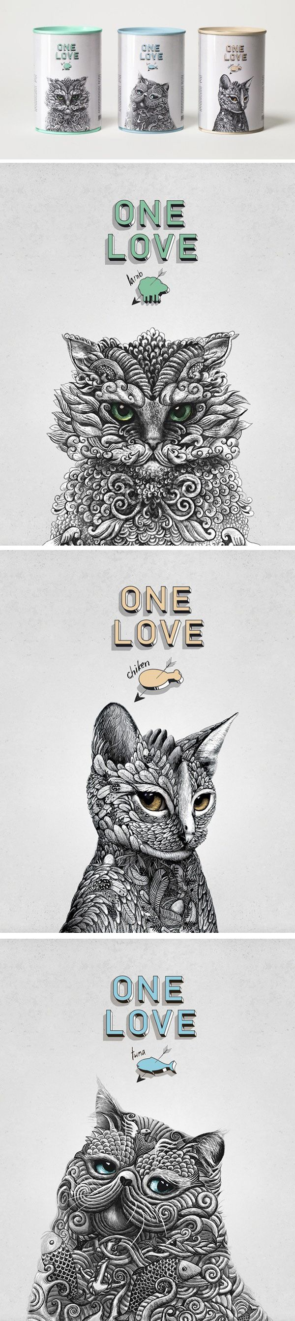 ONE LOVE Cat food Design