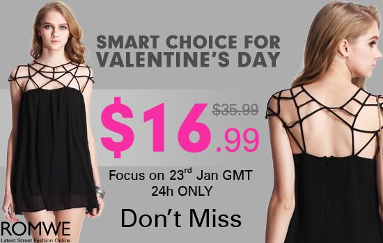 What is your special look on Valentine's Day in mind? The amazing dress is edgy and elegant, really a smart choice! http://www.romwe.com/romwe-cutout-upper-sleeveless-black-smock-dress-p-71683.html $16.99 will start on 1am 23rd Jan! Put it in shopping bag in advance, as so many girls want it, but the supply is limited!