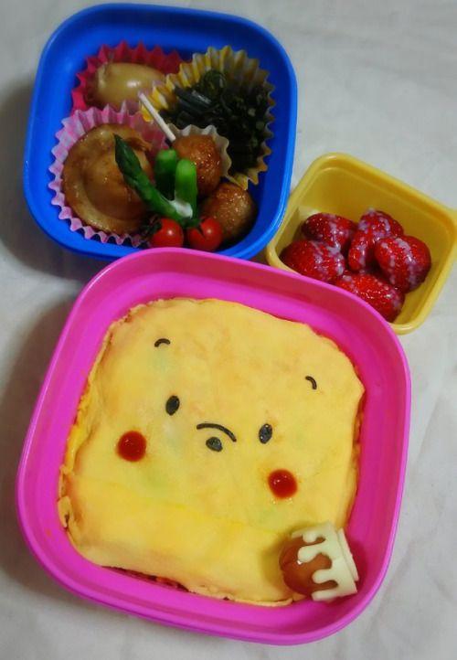 posted by @chika_5055 今日のお弁当プーさんオムライス ハニーポット型ウインナーほたてのバター醤油...