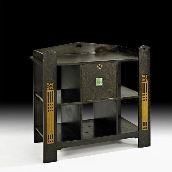 """SHOP OF THE CRAFTERS;  Rare inlaid server with green glass tile, Cincinnati, OH, 1904-1920; Unmarked; 40"""" x 42"""" x 22 1/2"""""""