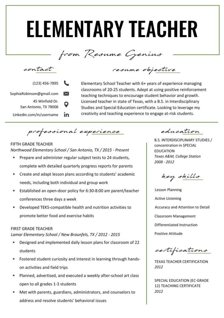 Elementary teacher resume samples writing guide
