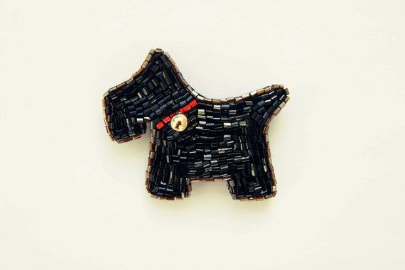 Dog Brooch / Bead Brooch / Schnauzer Pin MY CHAMPION
