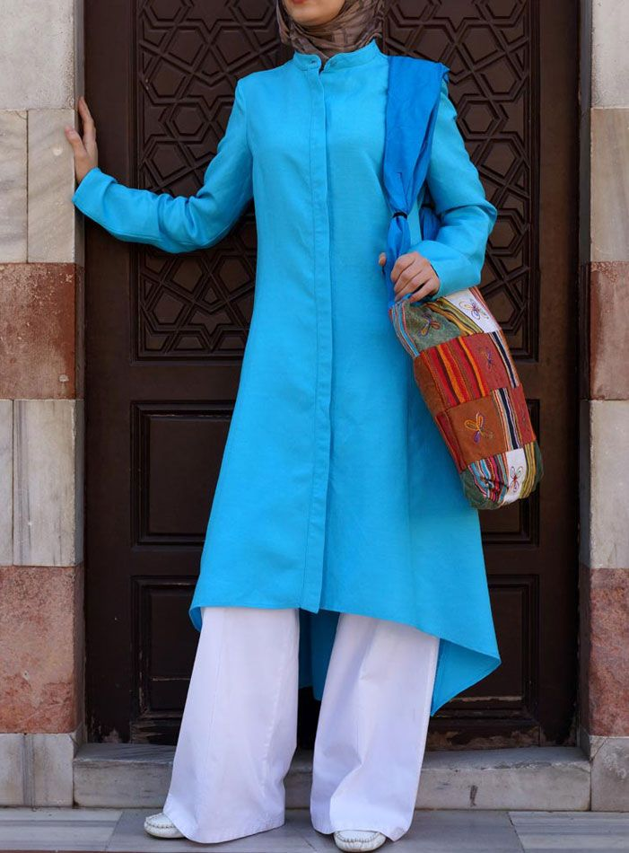 Long Flared Top in Turquoise from Shukr USA