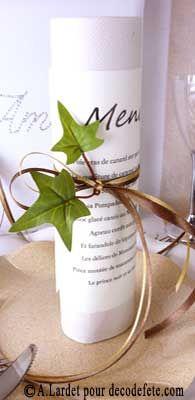 Enroulez simplement vos #menus de #rubans enlacés assortis de quelques feuilles pour un effet garanti ! (http://www.decodefete.com/-c-124_131.html?page=5=2a)