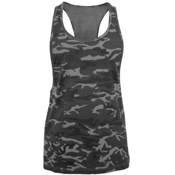 Ladies Camo Loose Tank (35 BRL) ❤ liked on Polyvore featuring tops, loose fit tank, loose fitted tank tops, loose tops, camo tank tops and loose fit tank top