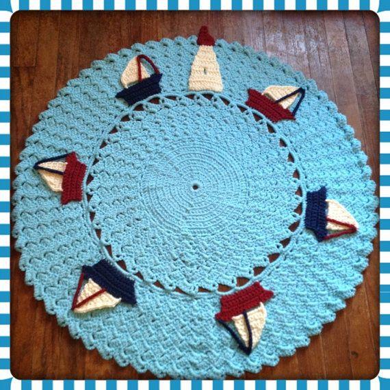 Round Nautical Rug OOAK Sailboat Large Nursery by OnceUponACraft4U, $137.00